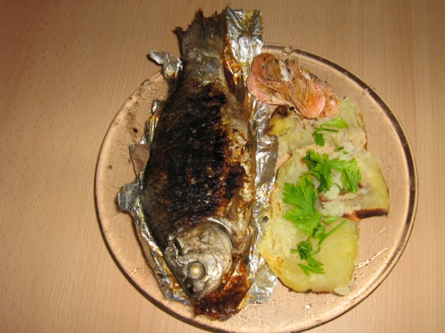 grilled meat and fish